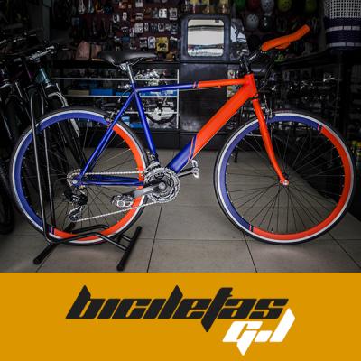 bicicleta fixed con cambios rin 700 marco en acero | amarilla.co
