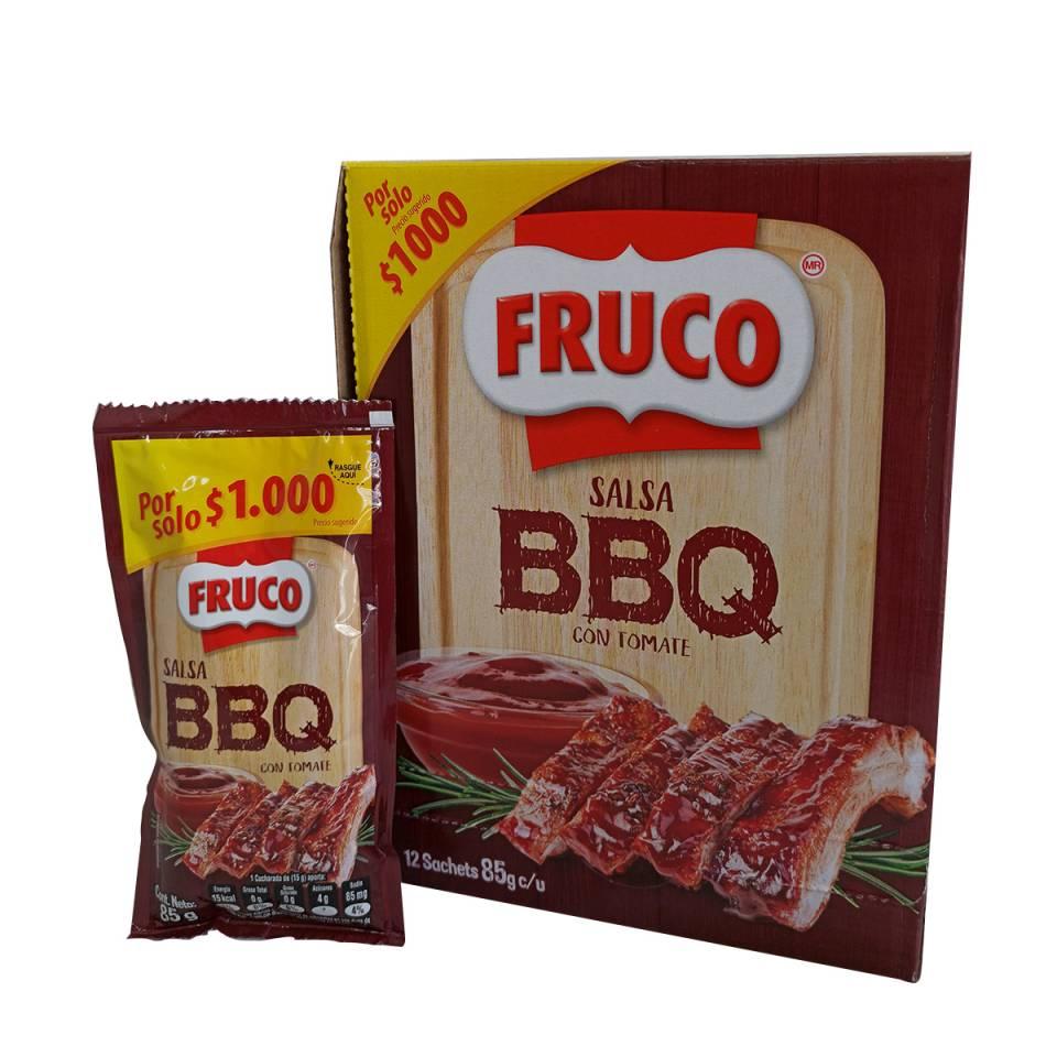 CAJA SALSA BBQ FRUCO POR 12 SACHETS DE 85 GRAMOS | amarilla.co