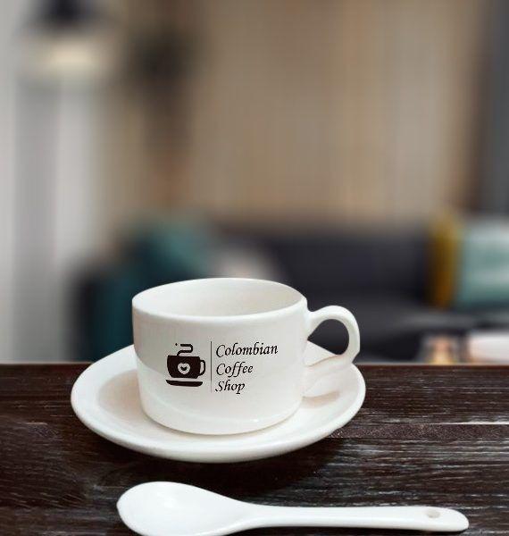 Taza de Cerámica Colombian Coffe Shop (con plato y cuchara) Bogotá   amarilla.co